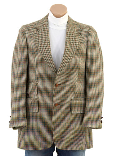 Vtg 60s Dogtooth HOUNDSTOOTH PLAID Wool Sportscoat