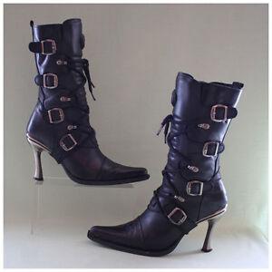 New Rock Stiefel Gr. 37 Malicia Stiefeletten schwarz mit Schnallen (#1651)