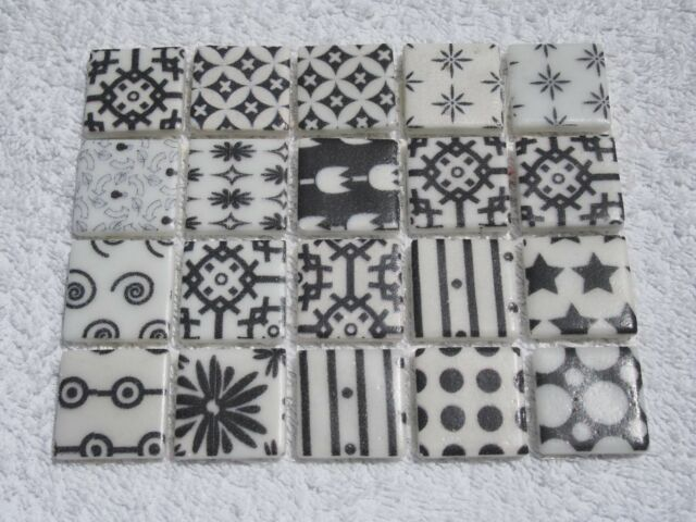 White With Black Patterns Tiles 20 X Pcs For Mosaic Rox 2 4cm