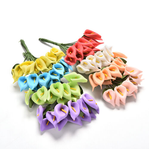 12X Foam Calla Artificial Flower Bouquet DIY Scrapbooking Decorative Wreath NA