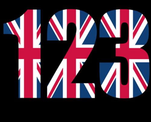 176mm High. Union Jack Design x 3 Numbers Wheelie Bin Numbers