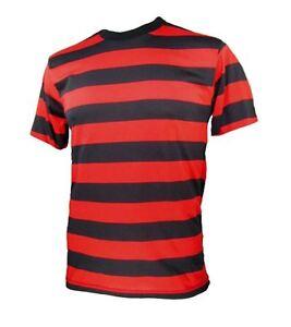 Adult-NYC-Short-Sleeve-Punk-Goth-Emo-Costume-Striped-Shirt-Black-Red-S-M-L-XL