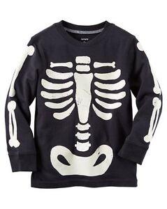 cf0b856e5 New Carter's Halloween Skeleton Glow in Dark Top NWT 8 7 6 5 4T 3T ...