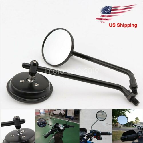 Black Motorcycle Classic Round Rearview Side View Mirrors Long Stem 10mm US