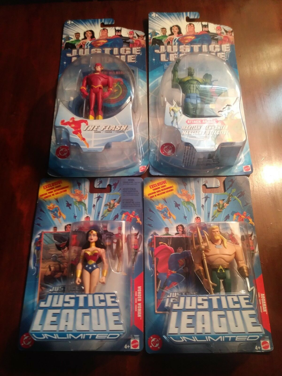 JUSTICE LEAGUE JLU LOT of 4 Wonder Woman, Aquaman, Flash & Martian Manhunter