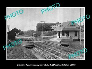 OLD-LARGE-HISTORIC-PHOTO-OF-FAIRVIEW-PENNSYLVANIA-THE-B-amp-O-RAILROAD-DEPOT-c1890