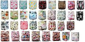 10-x-Reusable-Modern-Cloth-Nappies-amp-Inserts-All-Size-Diapers-Print-Bulk-sales