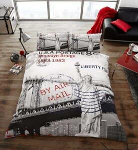 POST-CARD-New-York-Premium-Bed-Set-with-Duvet-Cover-and-Pillow-Cases-Double