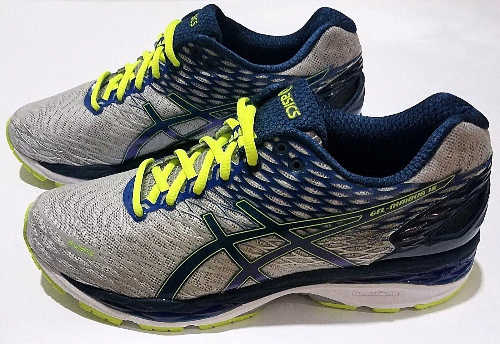 Asics Gel Nimbus 18 Mens Running shoes T600N Silver Ink Yellow Size 8.5 - 11.5