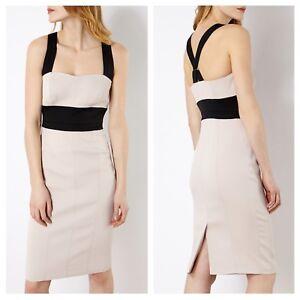 Karen-Millen-Beige-Black-Cross-Over-Strap-Racerback-Pencil-Sheath-Dress-US8-UK12