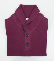 Brunello Cucinelli Purple Cotton Thick Knit Henley Sweater 48/38/s $1095 on Sale