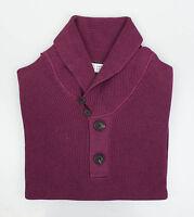 Brunello Cucinelli Purple Cotton Thick Knit Henley Sweater 48/38/s $1095