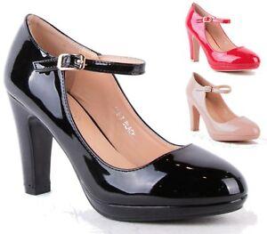 Nuevo-Mujer-Damas-Tacon-Alto-Bloque-Plataforma-Hebilla-bombas-de-patente-Tribunal-Zapatos-Talla