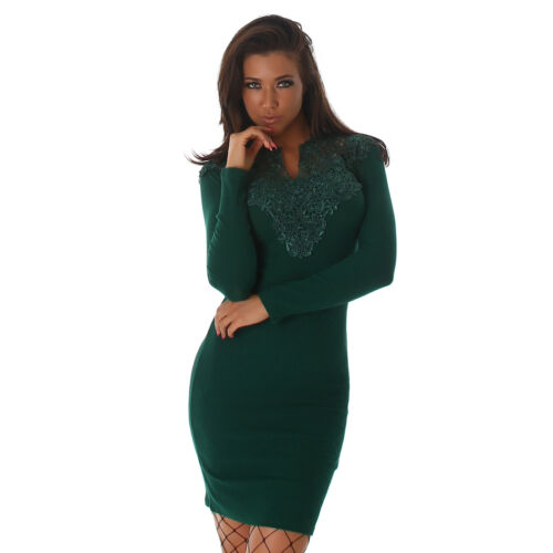Women/'s Bodycon Ribbed mini dress long sleeves crochet lace decoration UK 8//10