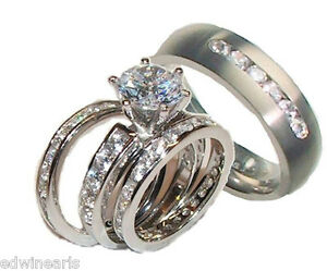 image is loading his and hers wedding rings 4 piece cz