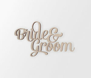 "Wedding Decor Word Cutout ""Bride & Groom"" - Cutout, Home Decor, Unfinished"