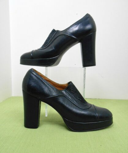 Vintage Late 60's~70's Coutessina Navy Blue Leathe