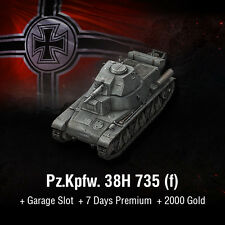 World of Tanks | WoT | Bonus Code | Pz.Kpfw. 38H 735 (f) | Minimaus | EU | PC