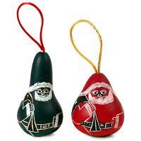 22 Two 3 Santa Gourd Christmas Carved Ornaments Fair Trade Artisan Hand Made