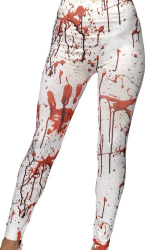 Ladies White Red Bloody Splattered Horror Leggings Fancy Dress Costume Outfit