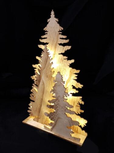 Wood Fensterdeko Tannenbaum Natural Decoration Lamp 15 LED Christmas Table Deco