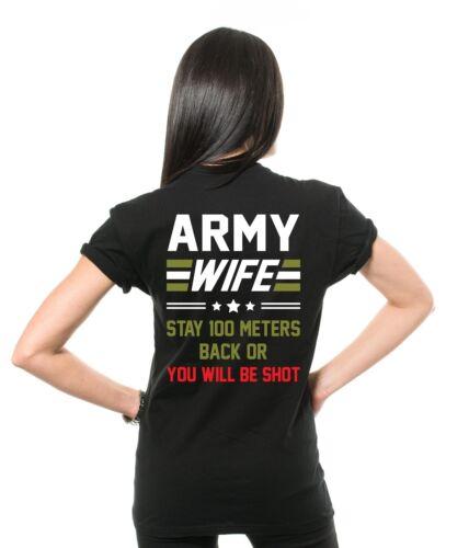 Army Femme T-shirt reculez armée femme drôle Armée T-Shirts Cadeau Pour Femme