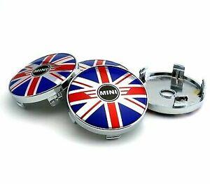 UNION JACK ALLOY WHEEL CENTRE CAP BADGES can fit MINI 50mm ROUND R50 R52 R53 R55