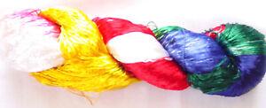 115g-Woven-Thread-Knit-Work-Sari-Fabric-New-Silk-1-PLY-Skeins-Yarn-Lace-Crochet