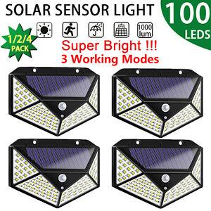 100-LED-Solaire-Mouvement-Capteur-Lampe-Murale-Exterieur-Impermeable-Jardin