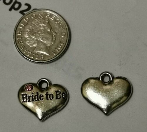 Tibetan Silver BRIDE TO BE HEART MIXED RHINESTONE WEDDING Charms Pendant Beads