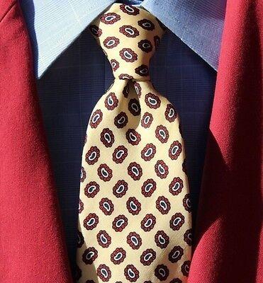Robert Talbott Vintage Gent's Yellow & Red Foulard Hand Block Silk Tie - England