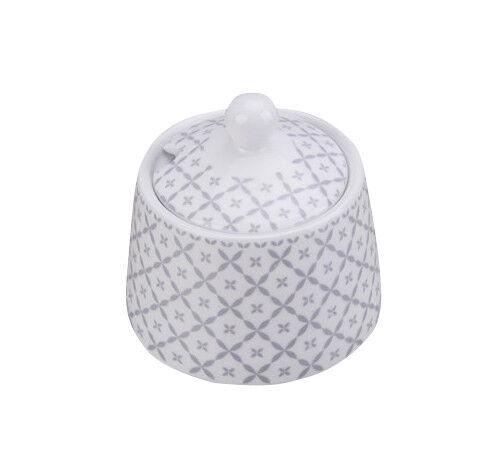 Krasilnikoff Zuckertopf DIAGONAL Hellgrau weiß Muster grau Porzellan Zuckerdose