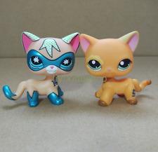 2pcs Super Rare Littlest Pet Shop COMIC CON CAT Orange Flower eye Cat 1643 LPS P