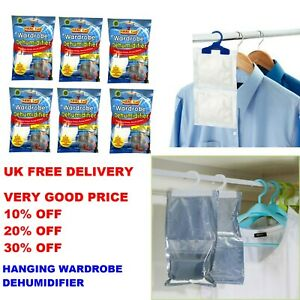 Details about HANGING WARDROBE DEHUMIDIFIER Trap Stops Damp Mould & Mildew On Clothes