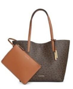 CALVIN-KLEIN-NWT-178-Leather-Reversible-Tote-with-Zip-Wristlet-Brown-Monogram