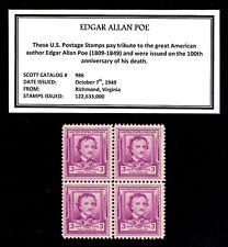 1949 - EDGAR ALLAN POE - Vintage Mint -MNH- Block of Four Postage Stamps