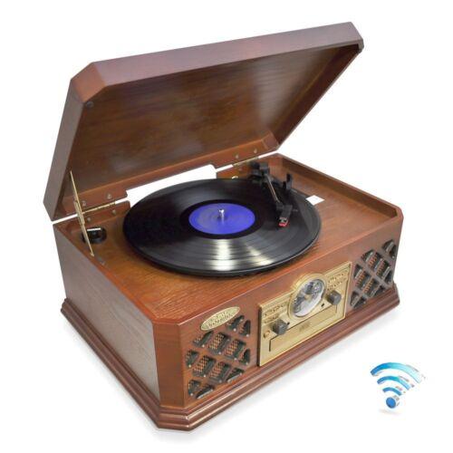 Pyle PTCD4BT Bluetooth Classic Retro Turntable CD Cassette USB AM//FM Player