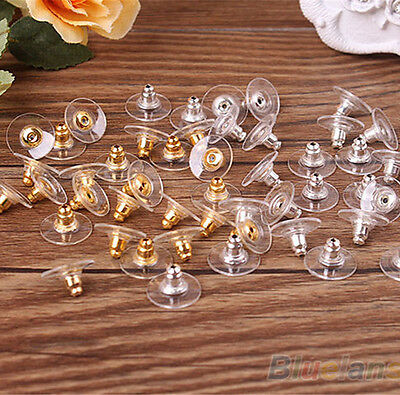 NEW Wholesale 50Pcs Silver Golden Earring Backs Stoppers Findings Useful Jewelry