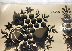 Home-Decor-Decals-Gold-Black-Fruit-Floral-Autumn-Vintage-Meyercord-NIP-X-551-B
