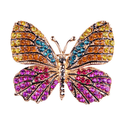 Rhinestone Butterfly Brooch Pin Gold Women Dress Wedding Bridal Brooch TFSU