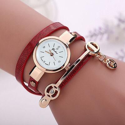 Fashion Women Bracelet Bangle Watch Lady Leather Band Quartz Analog Wrist Watch