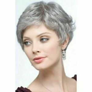 Elegant Short Synthetic Fashion Fluffy Curly Silvery Gray Capless Wig For Women