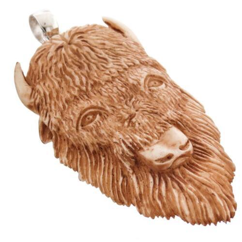 """3/"""" fait MAIN finition antique BISON tête de bison OS 925 Pendentif En Argent Sterling"""