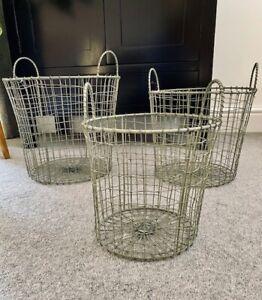 Vintage Style Wire Storage Basket Tall Round Light Grey with Handles Hamper