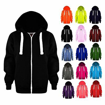 Girls Boys Kids Plain Colour Hoodie Jacket Hoody Fleece Sweatshirt Hooded Tops