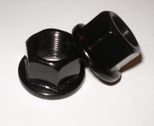 BMX 14MM STEEL AXLE NUTS PAIR BLACK