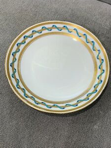 Antique-English-Minton-Porcelain-1870-Plate-Bowl-Blue-Ribbon-Gold-Greek-Key-Dec
