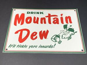 VINTAGE-DRINK-MOUNTAIN-DEW-HILLBILLY-12-034-PORCELAIN-METAL-SODA-POP-GAS-amp-OIL-SIGN