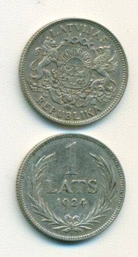 A NICE OLDER SILVER 1 LAT COIN from LATVIA DATING 1924