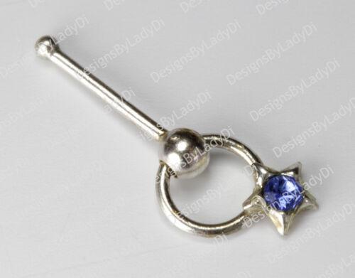 Silver Star Doorknocker With Blue Gem Nose Stud Rings